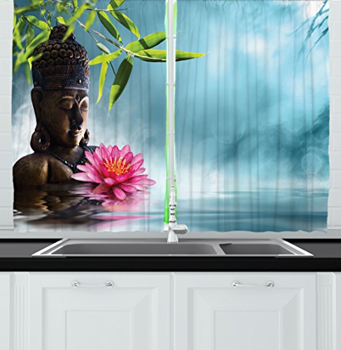 Ambesonne Kitchen Decor Collection, Zen Feng Shui Meditation Spa Flowers Bamboo Plant Floral Design, Window Treatments for Kitchen Curtains 2 Panels, 55X39 Inches, Blue Grey Pink Green by Ambesonne