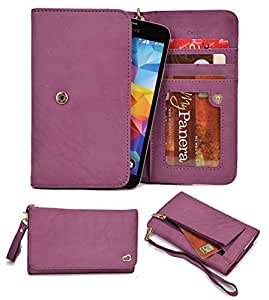 Phone/ID/Card Wallet Case Compatible with Lenovo K860- NuVur &153; Boysenberry Leather