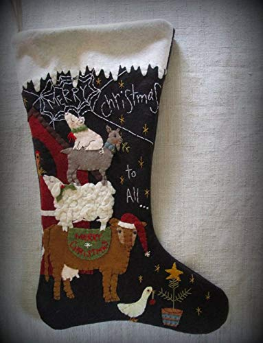 Christmas Stocking Kit Wool Felt Applique Merry Christmas To All By Cheswick Company Christmas Stockings Decorative Accessories