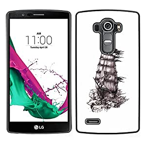 [Neutron-Star] Snap-on Series Teléfono Carcasa Funda Case Caso para LG G4 [White Ship Pirate Caribbean Sails Drawing]