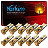 Automotive : Yorkim 194 Led Bulb Amber Canbus Error Free 3-SMD 2835 Chipsets, T10 Amber Interior Led For Car Dome Map Door Courtesy License Plate Trunk lights with 194 168 W5W 2825 Sockets Pack of 10, Amber Yellow