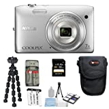Nikon COOLPIX S3500 20.1 MP Digital Camera (Silver) + 16GB SDHC + Camera Case + Card Reader + Repalcement EN-EL19 Battery + Spider Tripod + Accessory Kit
