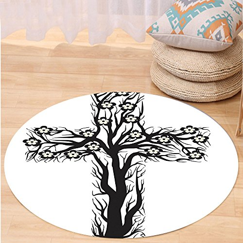 VROSELV Custom carpetBaptism Decorations Collection Floral Christian Cross in Tree Shape Christ Religion Prayer Blessed Miracle Symbol Bedroom Living Room Dorm Black White Round 79 inches by VROSELV