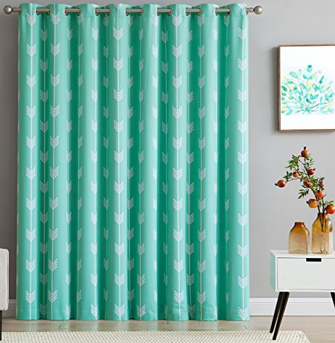 HLC.ME Arrow Print Thermal Grommet Blackout Patio Door Curtain for Sliding Doors - Extra Wide Windows - 100
