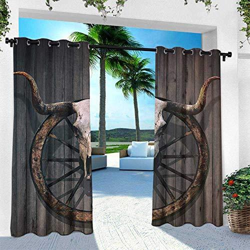 Hengshu Barn Wood Wagon Wheel, Fashions Drape,Long Horned Bull Skull and Old West Wagon Wheel on Rustic Wall, W84 x L108 Inch, Black Brown White