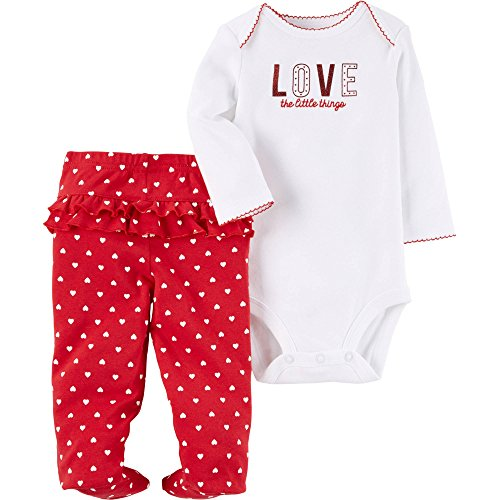 Child of Mine by Carter's Baby Girls Valentines Day Bodysuit and Pants Set (0-3 Months, White - Love the Little Things) (Valentines Outfits For Baby Girls)