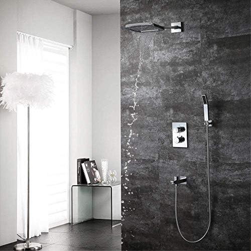 八瀬・王 で壁隠さサーモスタット浴室のシャワーセット銅3ファンクション200 * 250ミリメートルの滝の広場トップスーパーチャージハンドシャワーシステムとの蛇口美しく実用的なスプレー