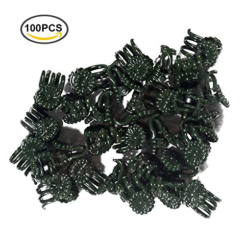 KINGLAKE® 100 Pcs Daisy Orchid Clips Dark Green,Garden Flower Plant Support Clips (95230) (Daisy Plant Clips compare prices)