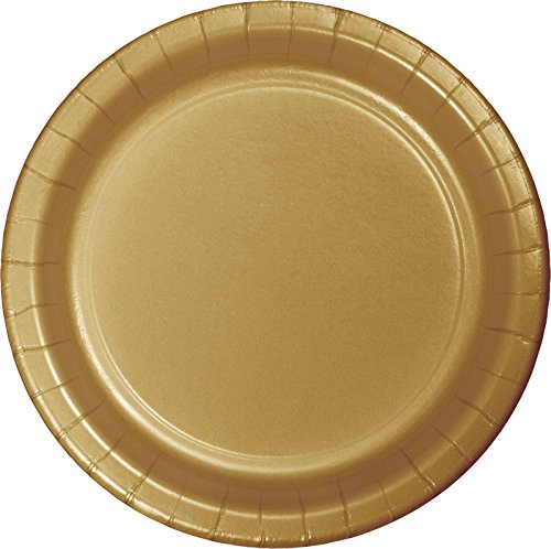 Glittering Gold Paper - Creative Converting Touch of Color 24 Count Paper Lunch Plates, Glittering Gold