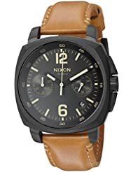 Nixon Mens Charger Chrono Quartz Metal and Leather Watch, Color:Brown (Model: A10732447-00)