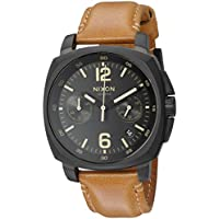Nixon Men's 'Charger Chrono' Quartz Metal and Leather Watch, Color:Brown (Model: A10732447-00)