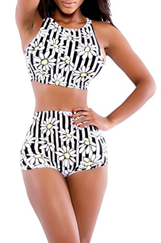 Yisqzjzj The Popular Women's High Waist Criss Cross Vintage Bikini Set White FloralMedium Shipping from USA about 2-3 days