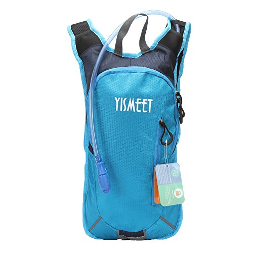 Hydration Pack Backpack with 2 Liter / 70 Oz Water Bladder Rucksack Bag - UltraLight Pouch Packs Fit For Men, Women and Kids - Great For- Outdoor Biking, Running, Hiking, Climbing, and Hunting by YISMEET
