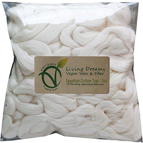 Egyptian Cotton Fiber for Spinning Blending Dyeing. Soft White Vegan Combed ()