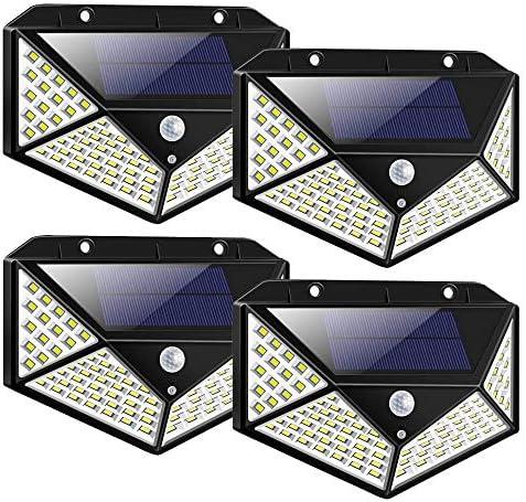 Topkar Solar Lights Outdoor 100 LED 270 Motion Sensor Security Solar Power Wall lamp 4 Pack