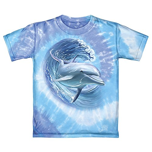 Dolphin Surfing Tie-Dye Adult Tee Shirt (Adult Medium) (Surfing Dolphins)