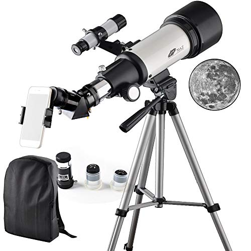 Astronomy Telescope 70mm Apeture 400mm AZ Refractor Scope - Travel Telescope with Backpack, Tripod and Smartphone Adapter for Kids and Beginners to View Moon and Planet HHokLH