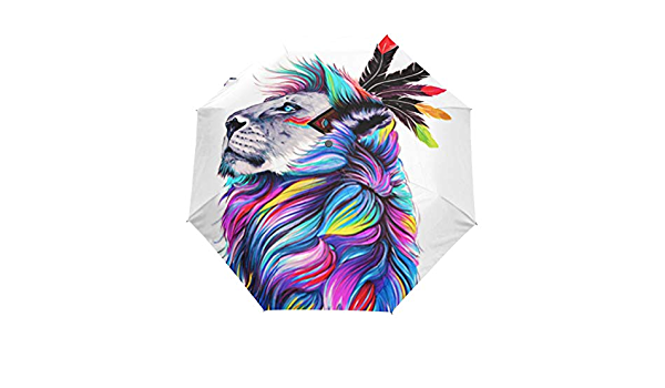 Rainproof RLDSESS African Lion Outdoor Umbrella 10 Ribs Ladies Men 42 Inches Automatic Opening and Closing,Silhouette of A Lion,Windproof