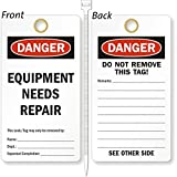 Equipment Needs Repair, Heavy Duty 15 mil thick Vinyl Tag, 25 Tags / Pack, 3.25'' x 6''