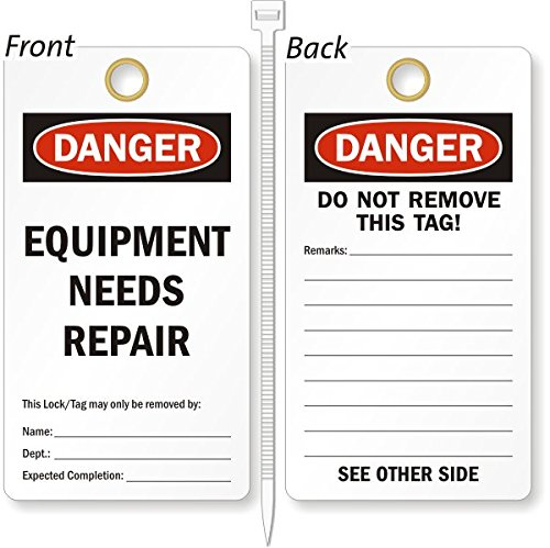 Equipment Needs Repair, Heavy Duty 15 mil thick Vinyl Tag, 25 Tags / Pack, 3.25'' x 6'' by XpressTags