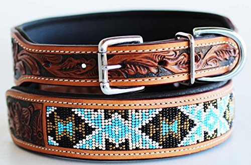 (Large 21''- 25'' Puppy Dog Collar Tooled Carved 100% Cow Leather Amish 6062)