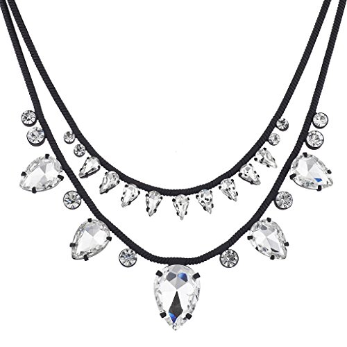 Noir Jewelry Jet Plated Snake Chain Faux Crystal Statement Necklace