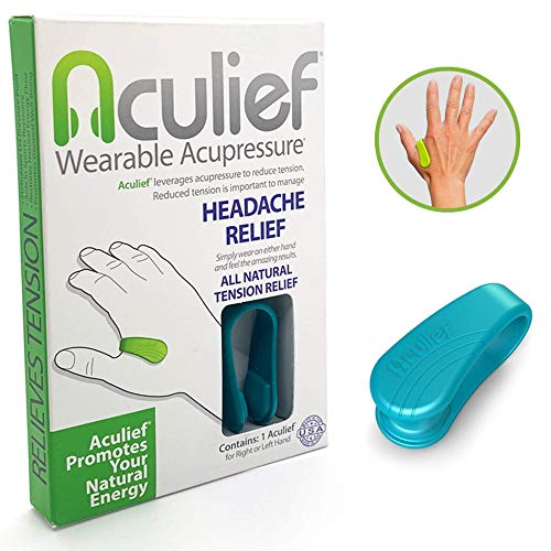 Aculief Wearable Acupressure Provides All Natural Tension Relief Using The LI4 Acupressure Point – Single Pack (Aculief – Teal)