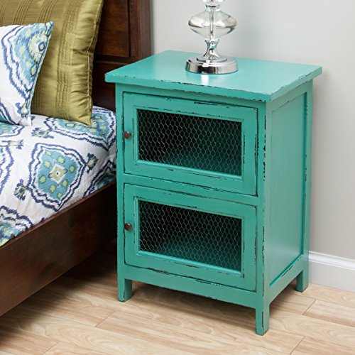 Kijang Turquoise Night Stand, Handcrafted and Uniqueness - Deep Blue Mango Wood