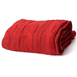 """Battilo Soft Knitted Dual Cable Throw Blanket, 50"""" W x 60"""" L, Red"""