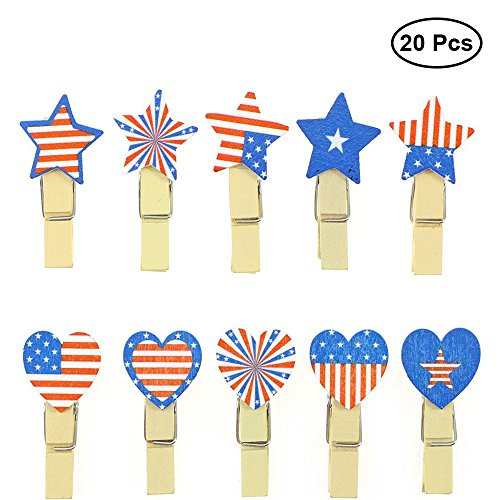 BinaryABC Photo Clip,Patriotic Clothespins,American Flag Note Memo Card Postcard Holder (Clothespin Place Card Holders)