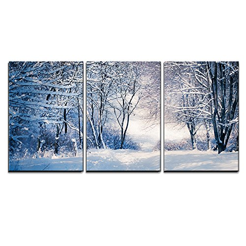 """Wall26 - 3 Piece Canvas Wall Art - Winter Landscape in Snow Forest. Alley in Snowy Forest - Modern Home Decor Stretched and Framed Ready to Hang - 16\""""x24\""""x3 Panels"""