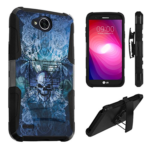 LG X Power 2 Case, LG Fiesta Case, LG X Charge Case, DuroCase Dual Layer Kickstand Case Holster for LG X Power 2 / Fiesta LTE / X Charge / K10 Power / LV7 - (Skull Wings Blue)]()