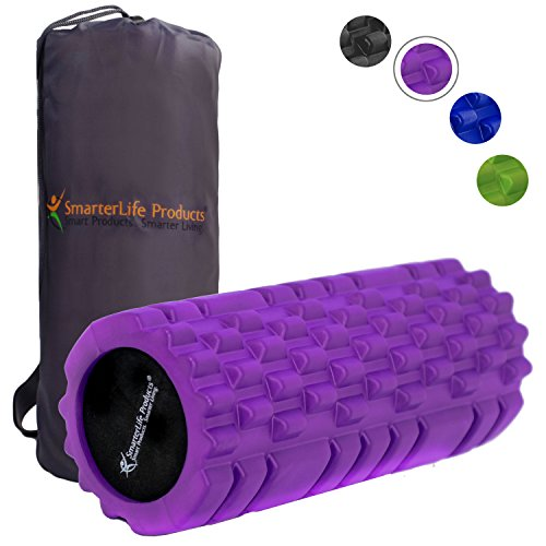 Free Foam (Foam Roller by SmarterLife | Portable Massager for Pre Workout, Physical Therapy, Recovery after Yoga, Pilates, Cycling and Running (Purple))