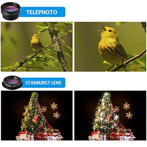Criacr Phone Camera Lens, 9 in 1 Zoom Lens Kit, 0.36X Super Wide Angle Lens + 0.63X Wide Lens + 15X Macro Lens + 20X Macro Lens + 198°Fisheye Lens + CPL + Starburst Lens Telephoto Lens for Smartphones by AMIR (Image #2)
