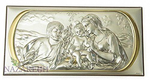 Beautiful Holy Family Icon Silver With Gold Handmade 6.7'' Holy Land by Holy Land Gifts