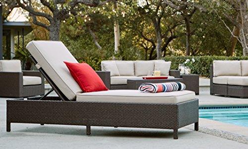 Serta Laguna Outdoor Storage Chaise Lounge Brown Wicker with Beige Cushion