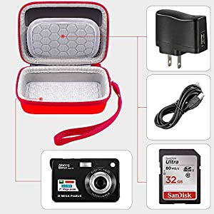 Digital camera bag compatible with AbergBest 21 Mega Pixels 2.7″ LCD Rechargeable HD Digital Video Students Cameras-Indoor Outdoor for Adult/Seniors/Kids (Red)