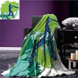 "RenteriaDecor Sports Microfiber All Season Blanket Cricket Player Pitching Win Game Champion Team Paintbrush Effect Blanket as Bedspread Navy Blue Turquoise Lime Green Bed or Couch 70""x60"""