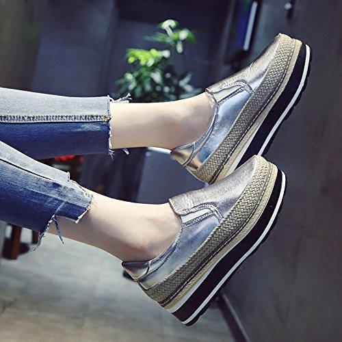KPHY-Der neue Fall Dicke einzelne Schuhe weibliche Strohs koreanische Version des Strohs weibliche Sisal Schwamm Kuchen den faulen knochen Schuhe Studenten sind die weiblichen Schuhe 40 Silber zu erhöhen. 32a55b