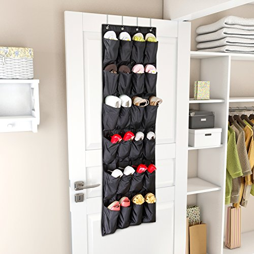 Lifewit Heavy Duty Over the Door Shoe Storage Organizer with 4 Hooks,24 Hanging Pockets, Black