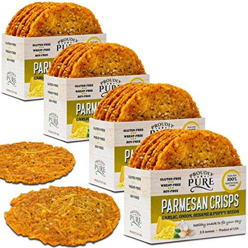 Proudly Pure Parmesan Cheese Crisps {10oz 4 Pk} Keto Friendly Low Carb Snacks, Healthy Diet Food Crackers 100% Natural Aged Cheesy Parm Chips Crunchy Gluten/Wheat & Soy-Free, - 10 Whip Sugar Ounce