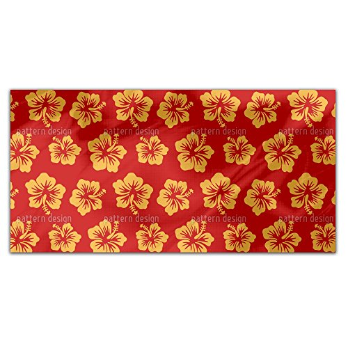 Hibiscus Greetings From Hawaii Rectangle Tablecloth: Medium Dining Room Kitchen Woven Polyester Custom Print by uneekee