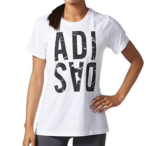 - adidas Adi Stacked Marble Women's Training T-Shirt White/Black cu0279 (Size S)
