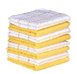 #1: Terry Cotton Dishcloth Set of 8 ( 12 x 12 Inches ) , Yellow , 100 % Cotton , Highly Absorbent Kitchen Dish Towels , Machine Washable By CASA DECORS