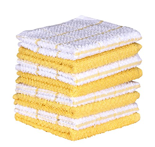 Terry Kitchen Dishcloth Set of 8 (1 2 x 12 Inches), Yellow, 100% Cotton, Highly Absorbent, Machine Washable By CASA DECORS -