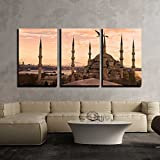 wall26 - 3 Piece Canvas Wall Art - the Blue Mosque, (Sultanahmet Camii), Istanbul, Turkey. - Modern Home Decor Stretched and Framed Ready to Hang - 24''x36''x3 Panels