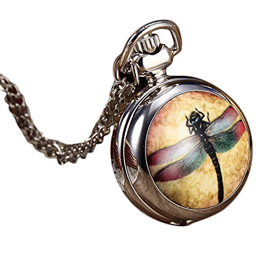 YouYouPifa Special Design Nice Colorful Dragonfly Small Pocket Watch With Chain