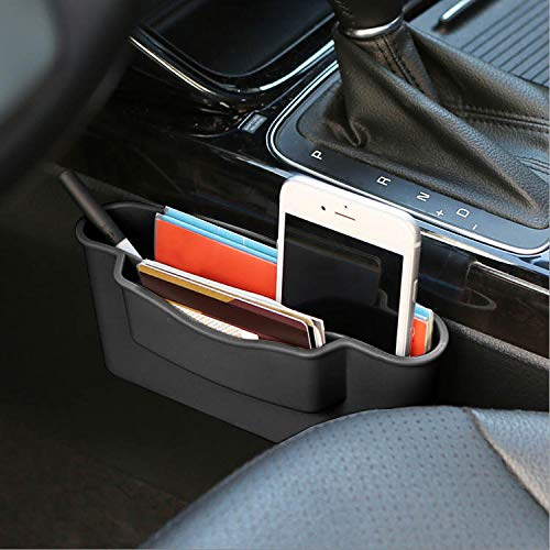 KMMOTORS Double Side Car Organizer Pocket, Dashboard Phone Holder, Console Organizer, Coin Holder, Auto Console Storage for Phones, Earphones, Sunglasses (Black)