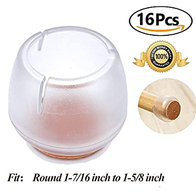 Chair Leg caps Wood Floor Protectors with Felt Furniture Pads, Chair Feet Glides Furniture Carpet Saver, Silicone/Rubber Caps Tips,Fit Round 1-7/16 inch to 1-5/8 inch 16 Pack
