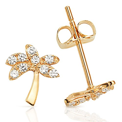 14k Palm Tree (Small Palm Tree With White CZ Stud Earrings in 14K Yellow Gold)